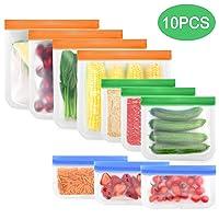Mcoolbo Reusable Food Storage Bags - 10 Pack Reusable Freezer Bags,Leakproof Seal...
