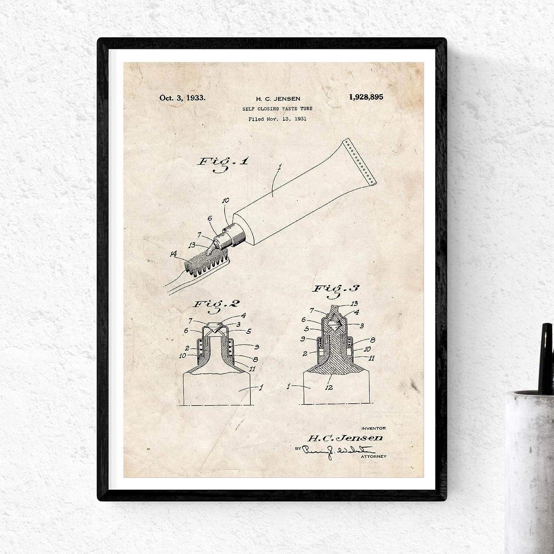 Pack de Dos Laminas de Cepillo de Dientes y Pasta Dental. Patentes Fondo Vintage. 250 gr. A4: Amazon.es: Hogar
