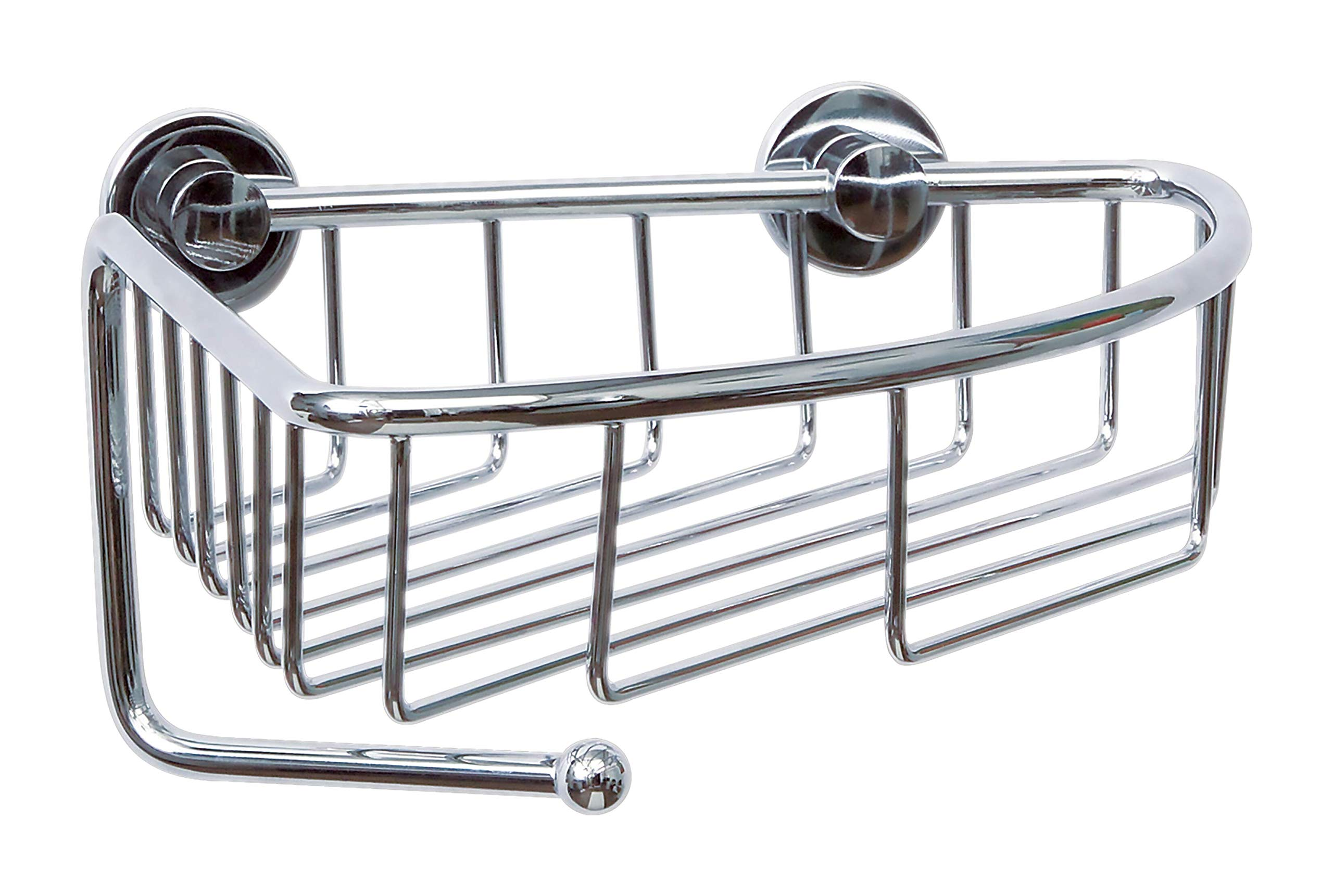 Tesa draad Shower Caddy (Without Drilling, Corner Variant, Single Hook, Brass, Chrome-Plated, with Adhesive Solution, 130mm x 210mm x 220mm)