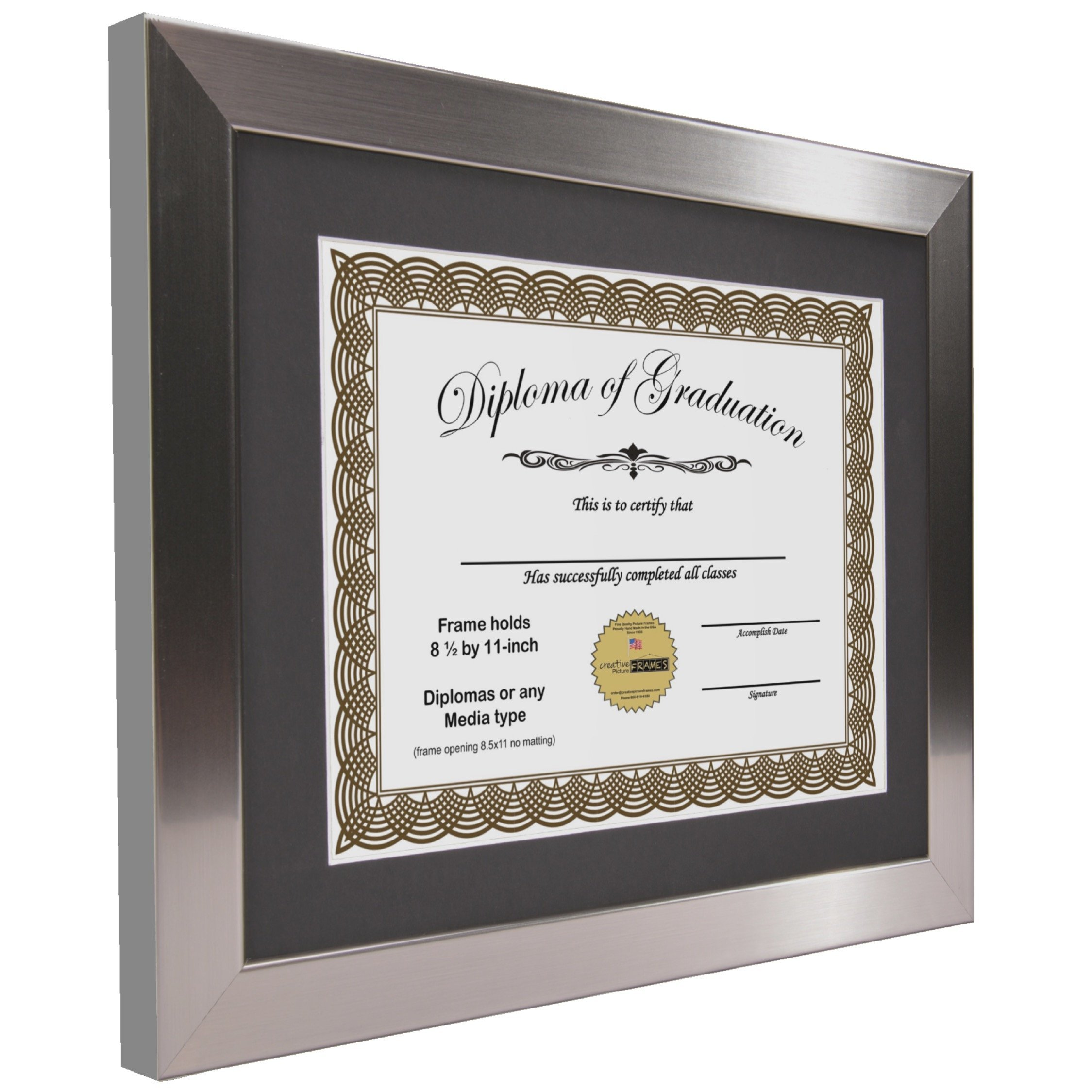 CreativePF [11x14ss] Stainless Steel Finish Diploma Frame with 11x14-inch White Mat to Hold 8.5 by 11-inch Graduation Documents w/ Stand and Wall Hanger (Black Mat-Stainless Steel Frame, 4) by Creative Picture Frames (Image #3)