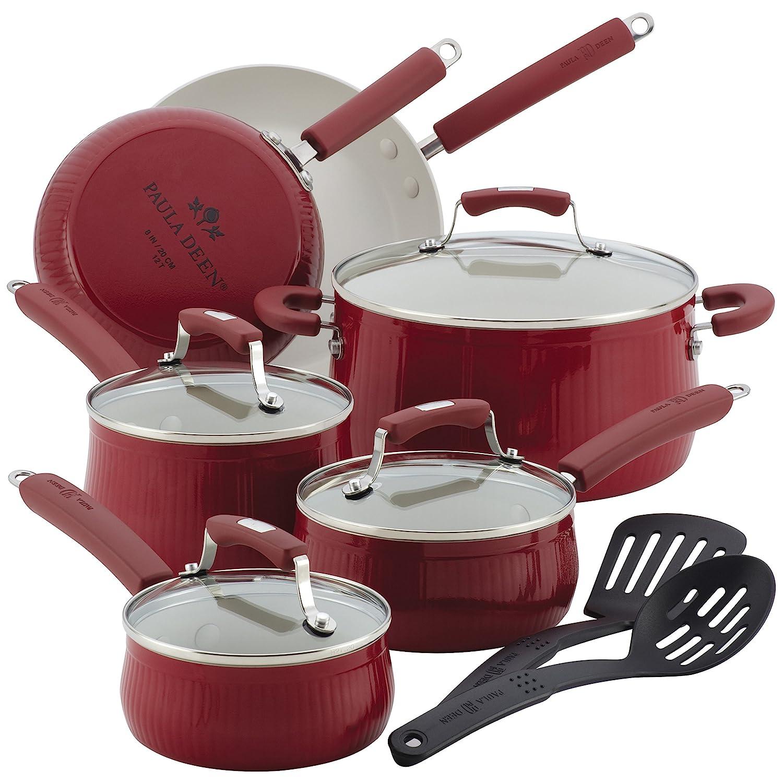 Paula Deen Savannah Collection Aluminum Nonstick 12-Piece Cookware Set, Red