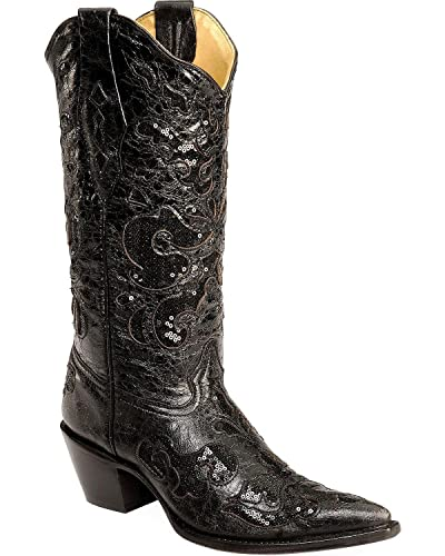 Women's Sequin Inlay Cowgirl Boot Pointed Toe - A1070