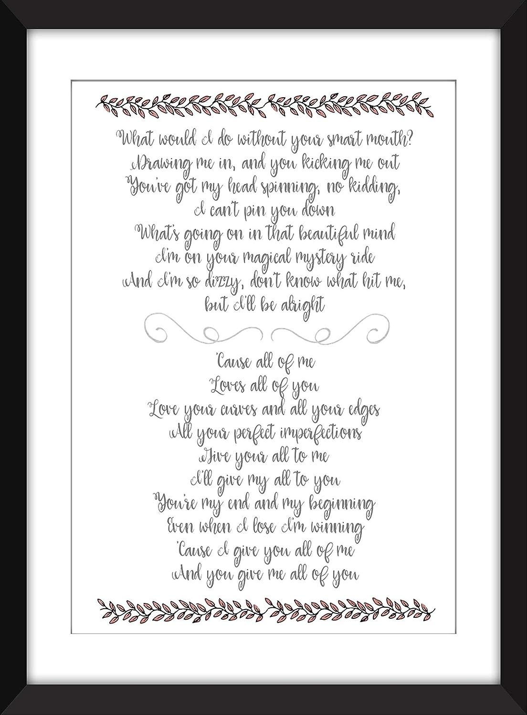 John Legend All of Me Lyrics Unframed Print: Amazon.es: Handmade