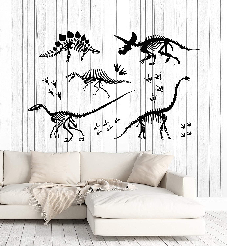 Vinyl Wall Decal Dinosaur Skeleton Dino Skull Bones Child Room Stickers Mural Large Decor (g5039) Black