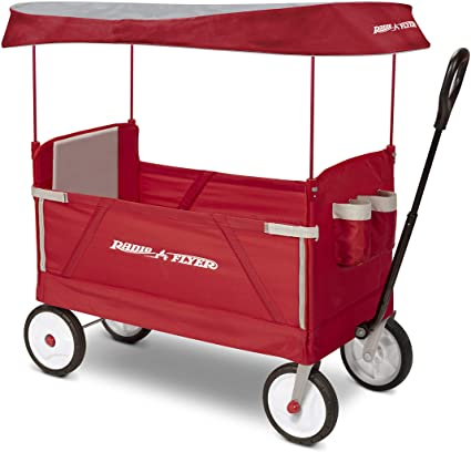 Radio Flyer 3951z 3 In 1 Ez Folding Wagon With Canopy For Kids Cargo Red