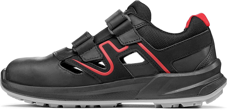 Lupos LU30146 Chaussures de s/écurit/é Distance l/ég/ères et respirantes avec normes de s/écurit/é S1P SRC ESD et semelle avec technologie Light Grip Noir//rouge 42