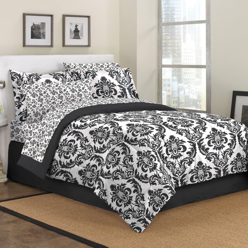 First At Home Marceline Comforter Set, King, Black