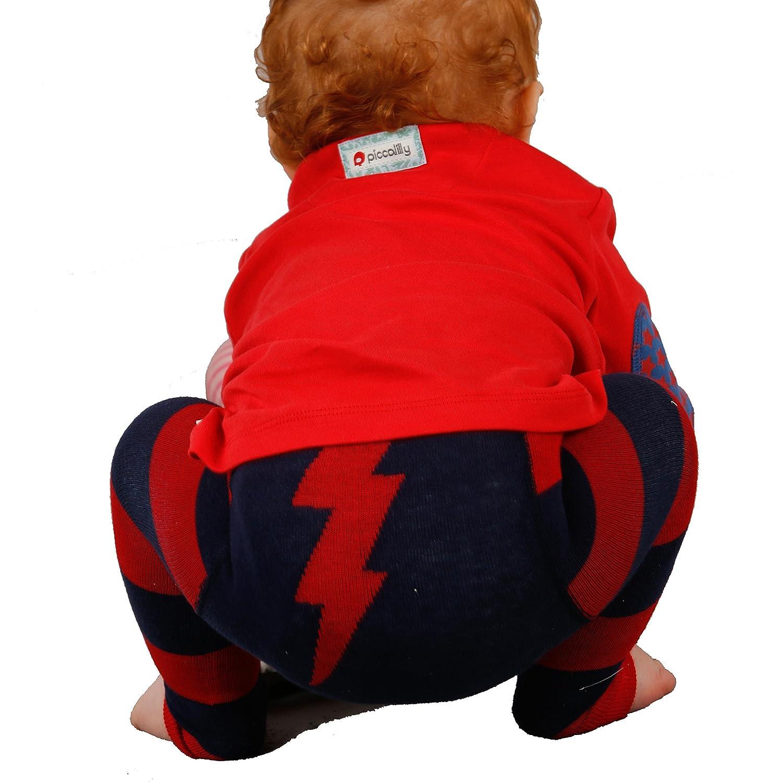 Piccalilly Bio-Baumwolle Rot u Kleinkind Blitz Leggings Blau Unisex Baby u