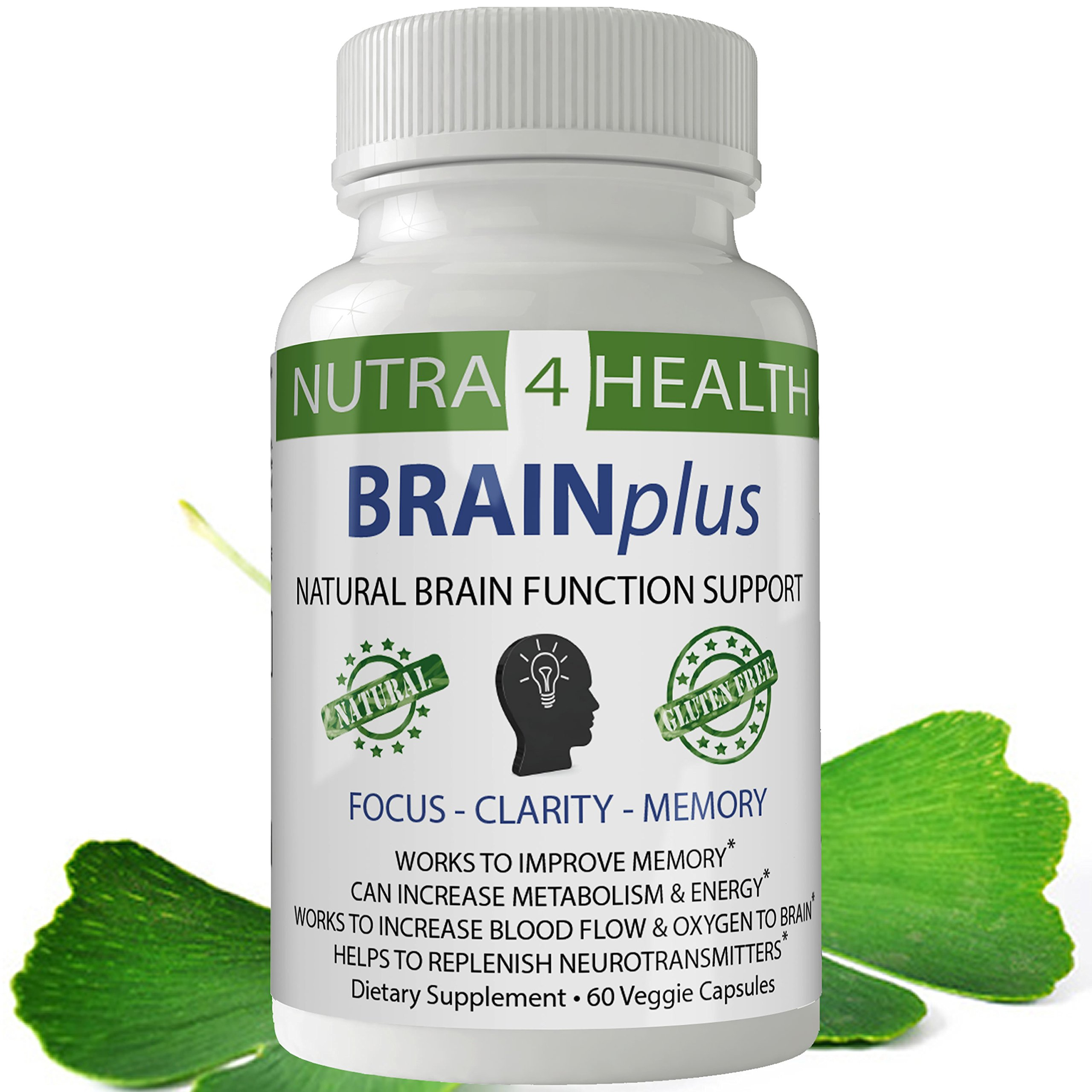 BRAINplus - Brain IQ Plus Capsules for Brain Plus IQ Original from nutra4health, Brain Booster, Brain Supplement for FOCUS, CLARITY and MEMORY with BACOPA, DMAE & PHOSPHATIDYLCHOLINE