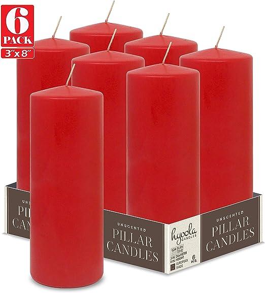 Hyoola Velas de pilar rojas de 3 x 8 pulgadas, velas sin perfume, paquete de 6, fabricadas en Europa: Amazon.es: Hogar