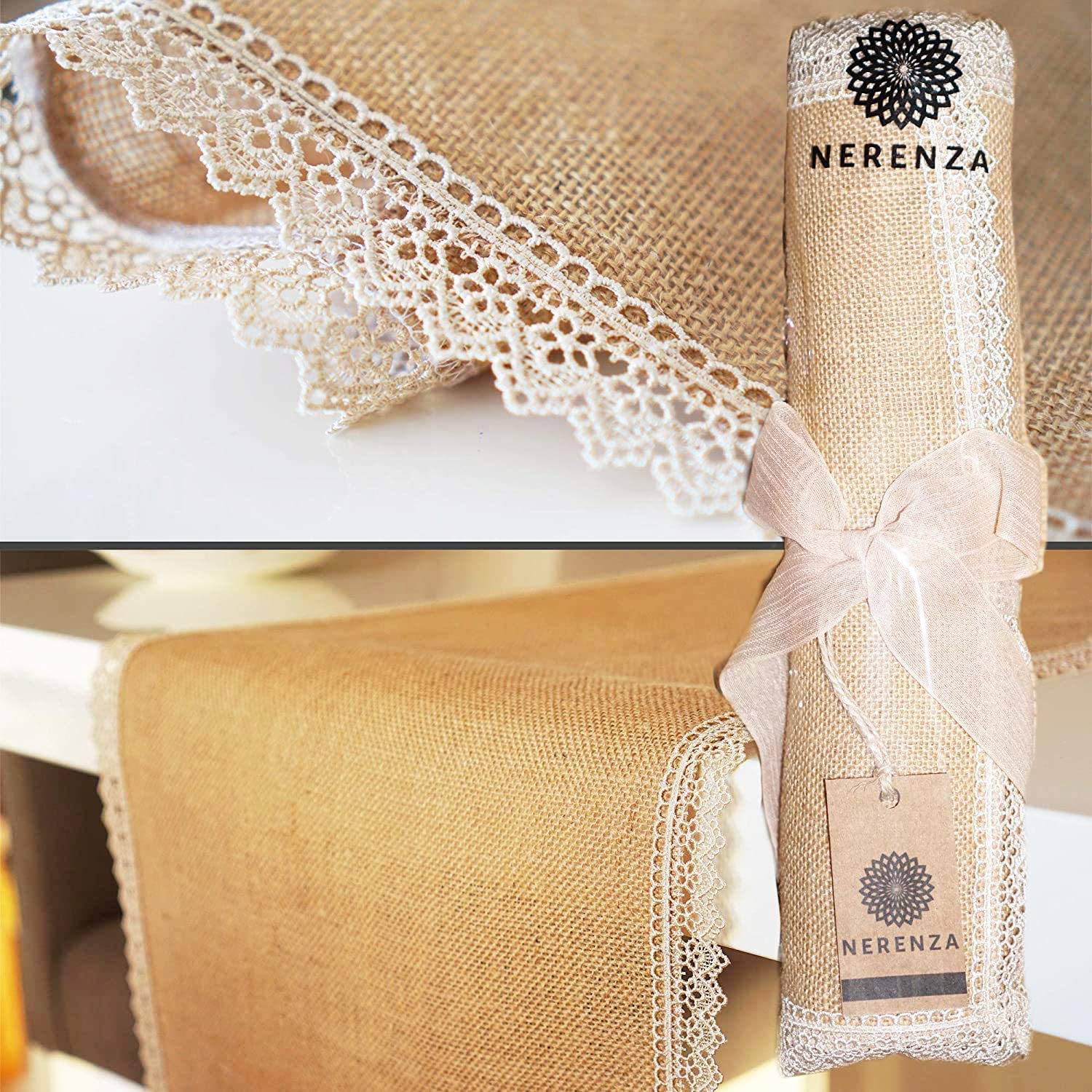 Amazon Com Nerenza Burlap Table Runner With Lace Farmhouse Natural Jute Thanksgiving Decorations Rustic Wedding 13 X 48 Home Kitchen