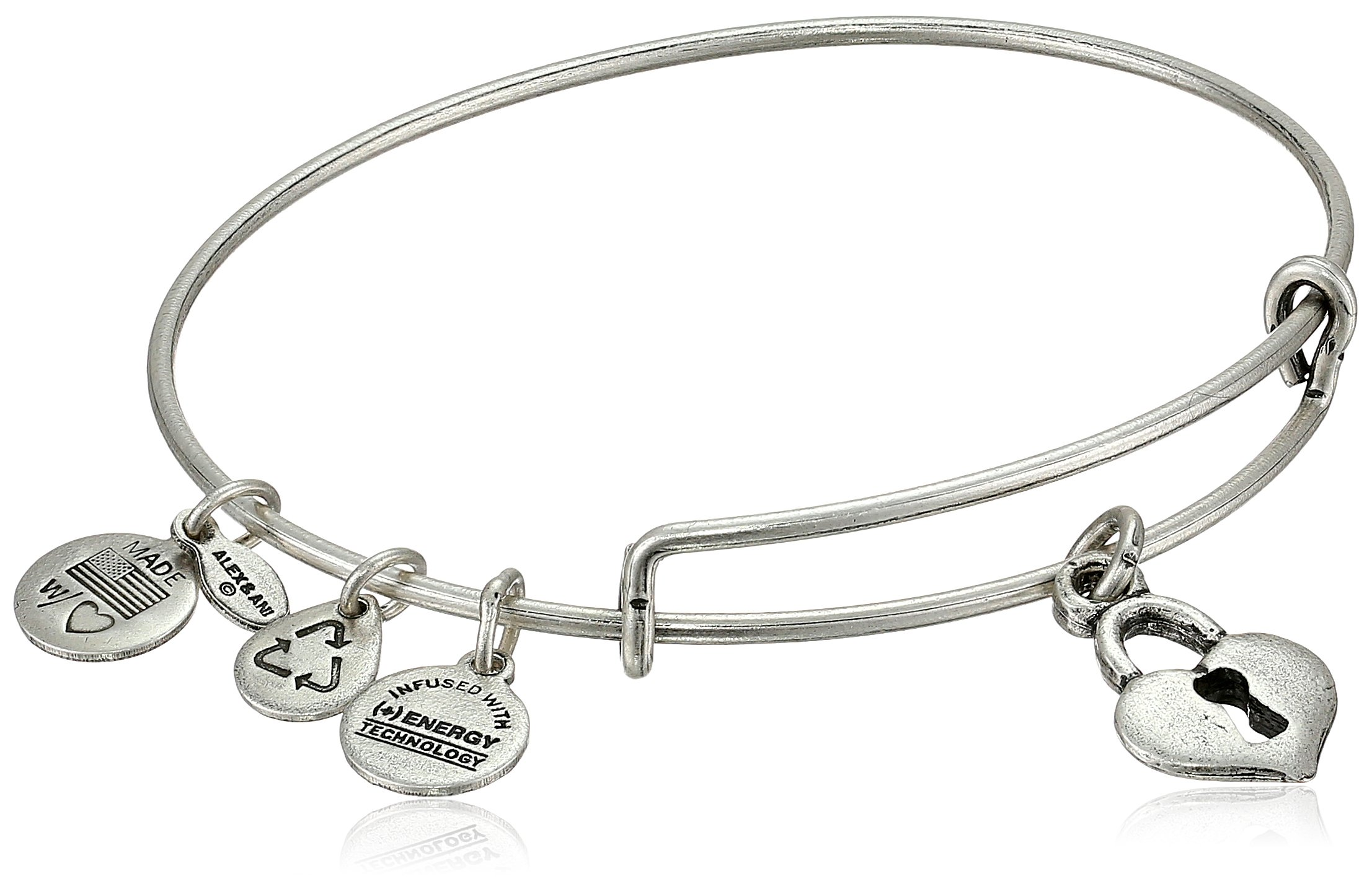 Alex and Ani Bangle Bar ''Key To My Heart'' Rafaelian Silver-Tone Expandable Bracelet