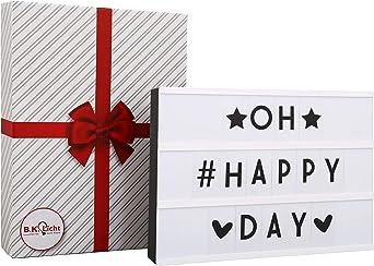 Cinematic Light box A4, Caja de luz con 90 letras incl. USB, cinematográfica, Lightbox como Decoracion boda, Regalo original para cumpleaños, Decoración, IP20, 4,5 W: Amazon.es: Iluminación