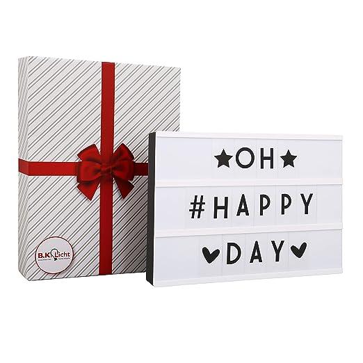Cinematic Light box A4, Caja de luz con 90 letras incl. USB, cinematográfica, Lightbox como Decoracion boda, Regalo original para cumpleaños, ...
