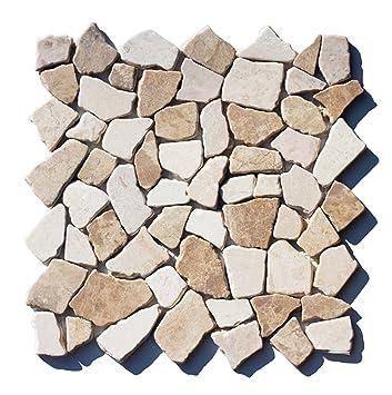 M 022 Marmor Bruchstein Mosaikfliesenu0026quot;Mocca Whiteu0026quot; Naturstein Badezimmer  Fliesen Lager Verkauf Herne