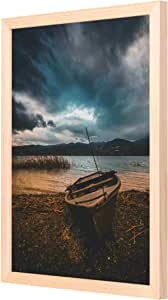 LOWHA Brown Boat on Beach Line Wall Art with Pan Wood framed Ready to hang for home, bed room, office living room Home decor hand made Wooden color 33 x 43cm By LOWHA