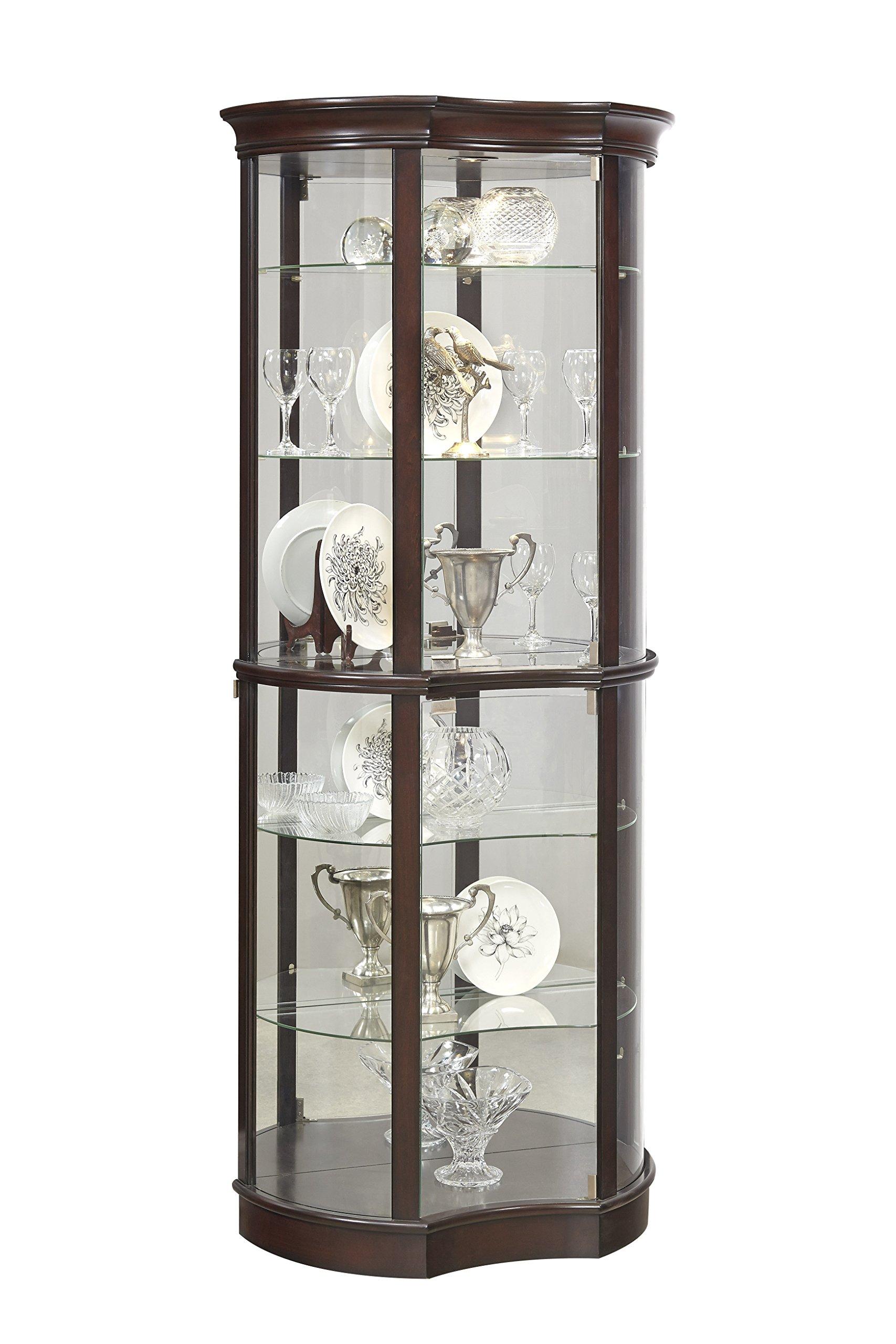 Pulaski P021563 Sable Concave Front Mirrored Curio Cabinet 32.0'' x 15.4'' x 76.1''