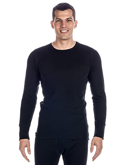 8da5f3247a Men's Classic Waffle Knit Thermal Crew Top - Black -Large at Amazon Men's  Clothing store: