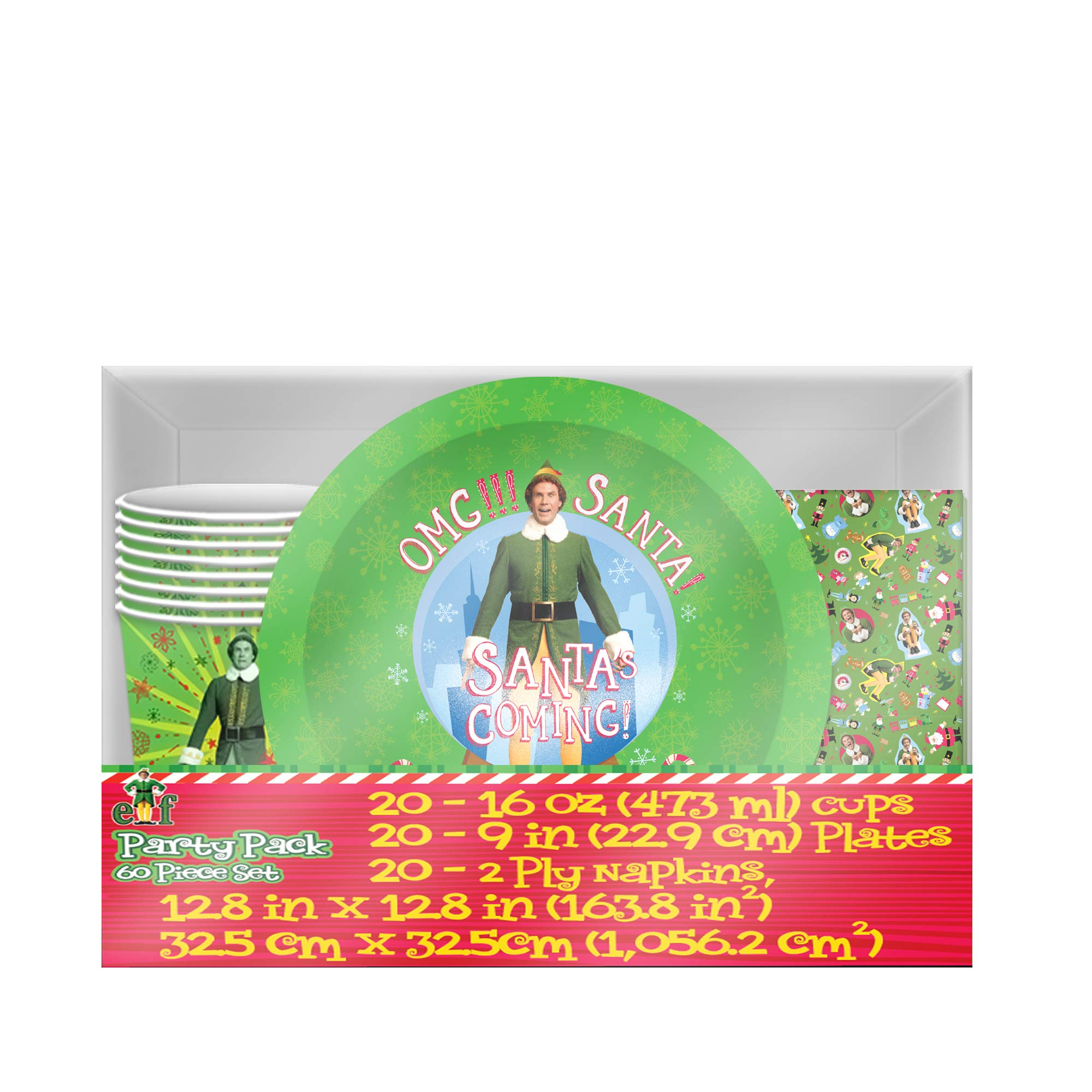 Warner Brothers WBM3095T Elf OMG Santa Paper Plate, Cup and Napkin Party Pack, 60 Piece, multicolor