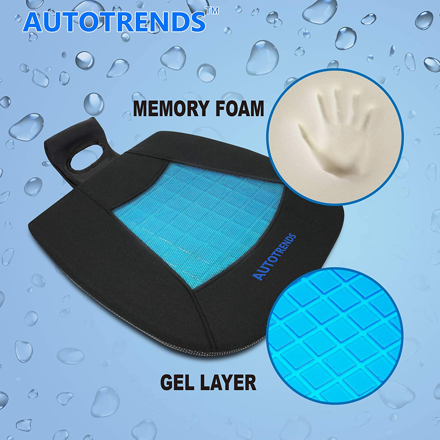 AUTOTRENDS Gel Seat Cushion Cooling Coccyx Orthopedic Breathable Car Seat Cushion Anti Slip Backing Mat
