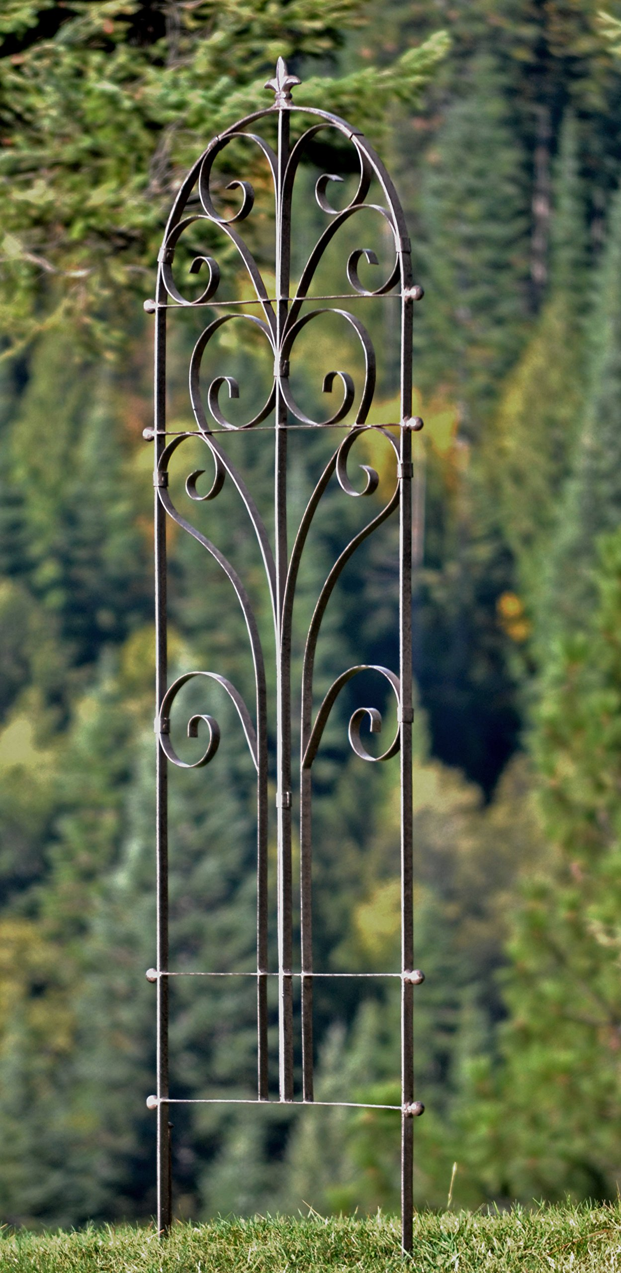 H Potter Italian Iron Garden Trellis - Durable, Elegant Metal Trellis Lawn Decor with Powder Coat Finish - Hand Cut, Heavy Scroll Iron, Easy to Stake, Some Assembly, All Weather Yard Art (Extra Large)