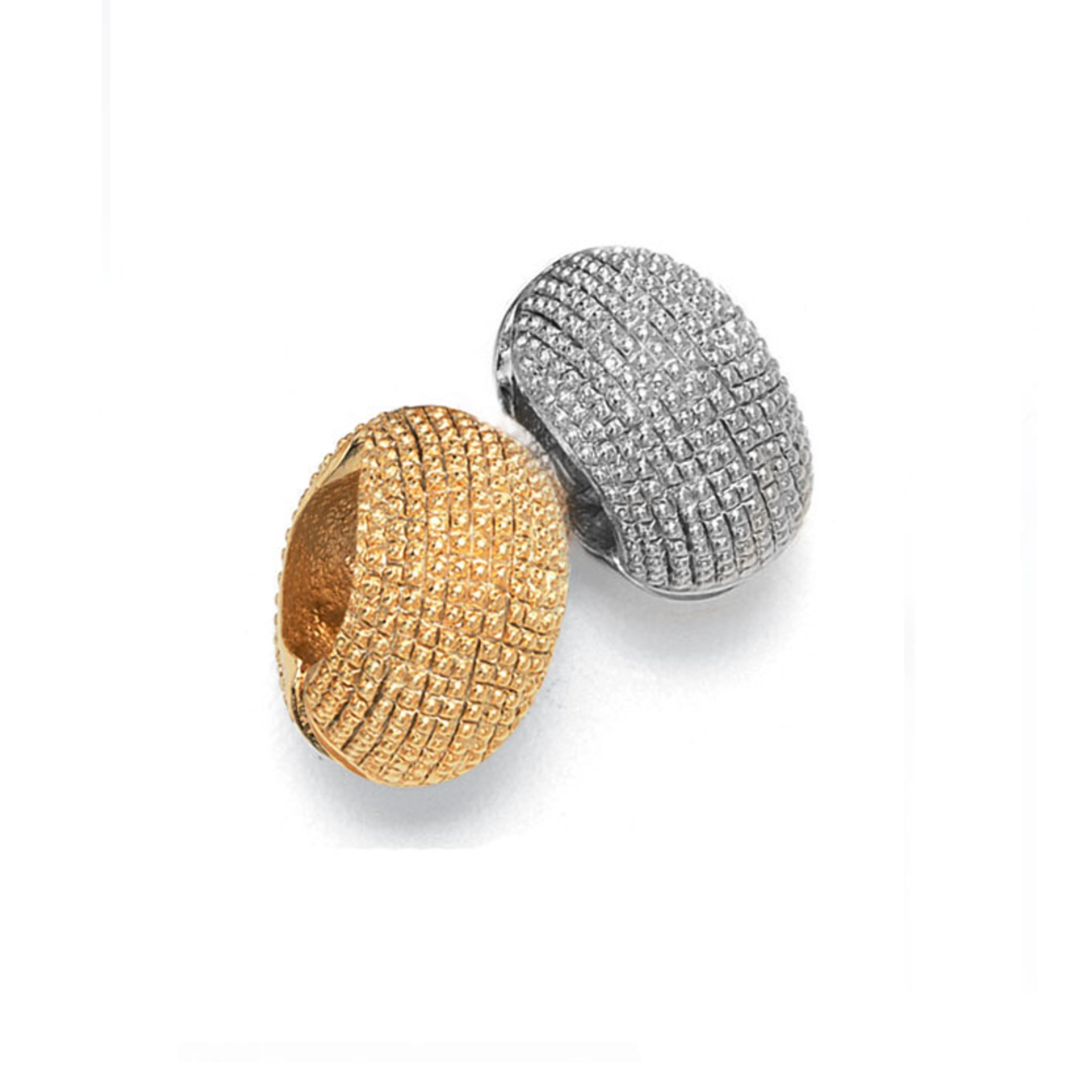 Gold Tone & Silver Tone Caviar Reversible Hugs