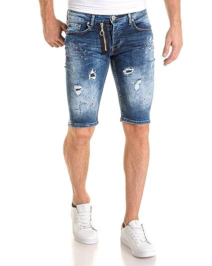 3b832cdd7ee2e BLZ Jeans - Bermuda Bleu avec Effet tâché: Amazon.fr: Vêtements et  accessoires