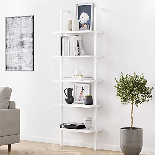 Nathan James 65506 Theo 5-Shelf White Modern Bookcase - the best modern bookcase for the money