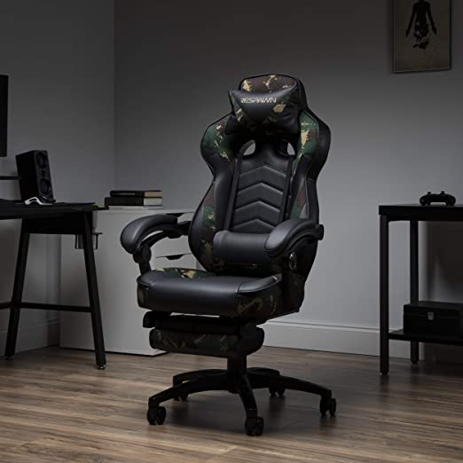 RESPAWN RSP-110 110 Racing Style Gaming in Forest Camo Reclining Ergonomic Leather Chair with Footrest RSP-110-FST
