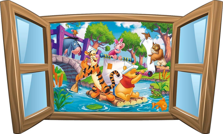 Stickasticker-Adesivo per bambini, motivo: Winnie the Pooh con finestra, rif. 973, 39x23cm Stickersnews