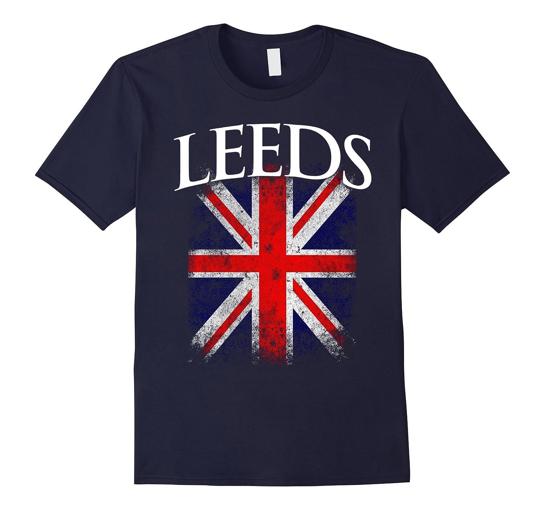 Leeds England British Flag Vintage T-Shirt-TD