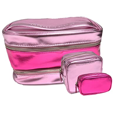 Amazon.com: Victoria s Secret 3-Piece Rosa cosméticos bolsa ...