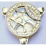 Artshai Brass Sundial Clock Compass, 4 inch, beautiful look, Antique look, Sun Clock