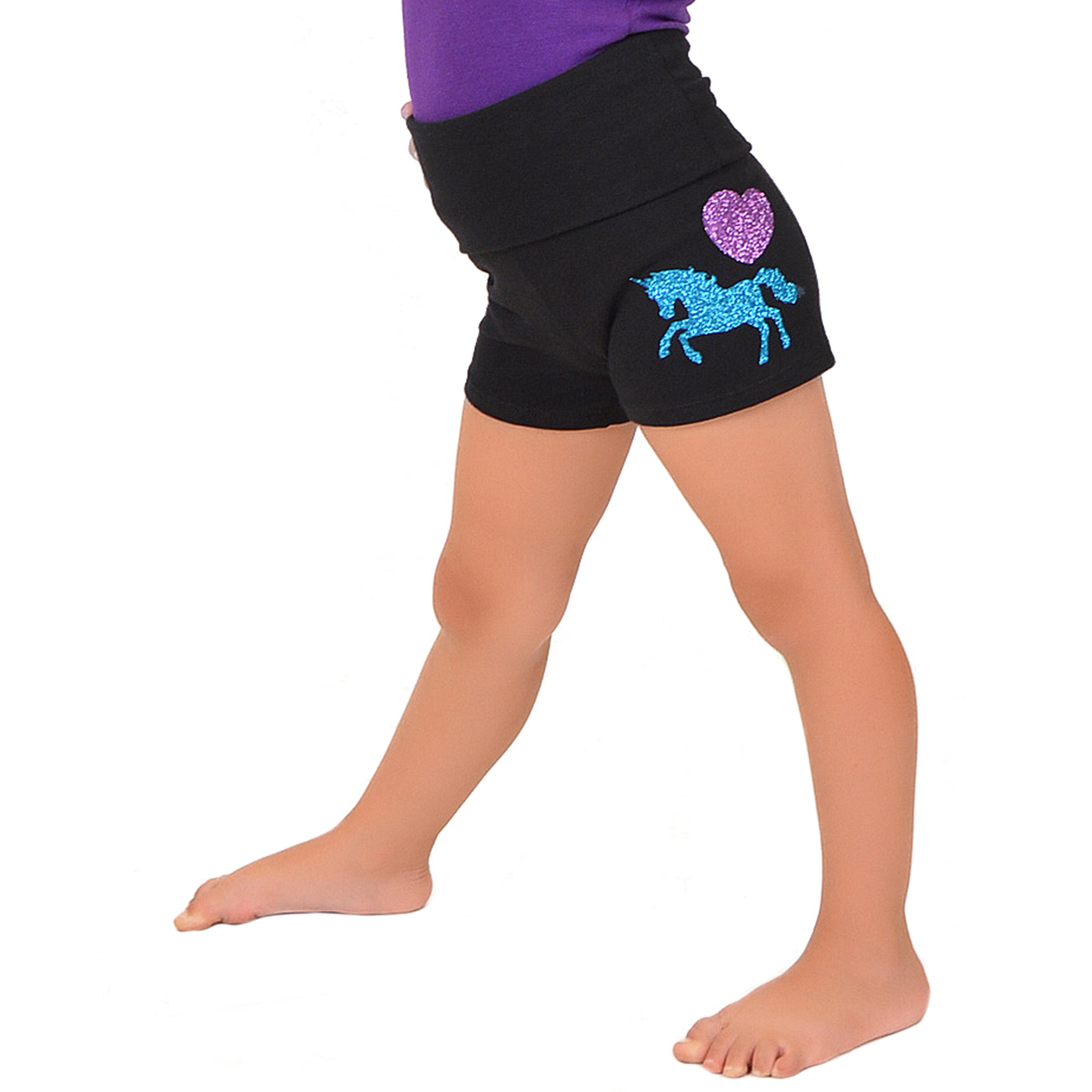 Stretch is Comfort Girl's Vinyl Pink Heart Unicorn Yoga Shorts X-Large by Stretch is Comfort (Image #1)