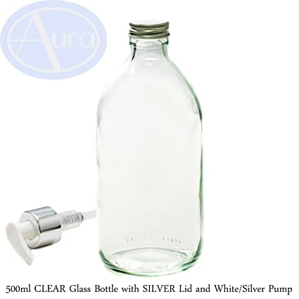 Botella de cristal transparente de 500 ml con tapa de plata y bomba blanca y plateada