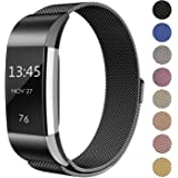 for Fitbit Charge 2 Strap Band, FashionAids Milanese Loop Stainless Steel Metal Bracelet Strap with Unique Magnet Lock for Fitbit Charge 2 Fitness Tracker Black-L