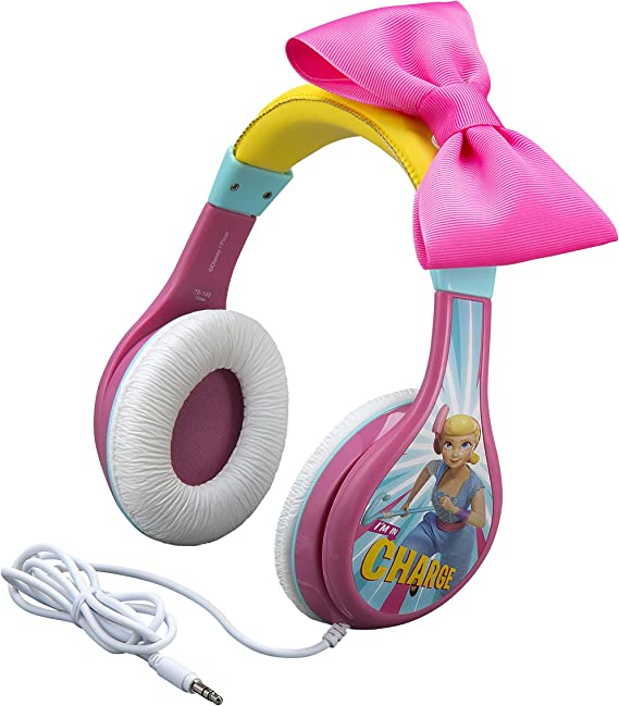 eKids TS-140BP Headphones for Kids Toy Story 4 Bo Peep Adjustable Stereo Tangle-Free 3.5Mm Jack Wired Cord Over Ear Parental Volume Control School Home Travel