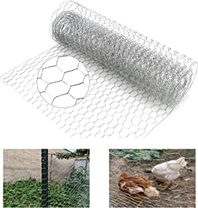 N\Y Chicken Wire Fence, 13.7 x 157 Inch Garden Fence Animal Barrier Chicken Netting Hexagonal Wire Mesh Roll, Chicken Wire for Crafts for Chicken Rabbit Pet Poultry and Gardening