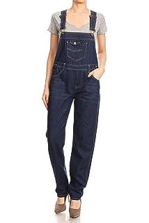 f5f5bdcbfec6 Anna-Kaci Womens Vintage Wash Straight Leg Denim Overalls with Pocket Bib