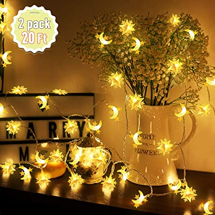 Amazon Com Xenzy Moon String Light Star String Light 20ft 60 Led