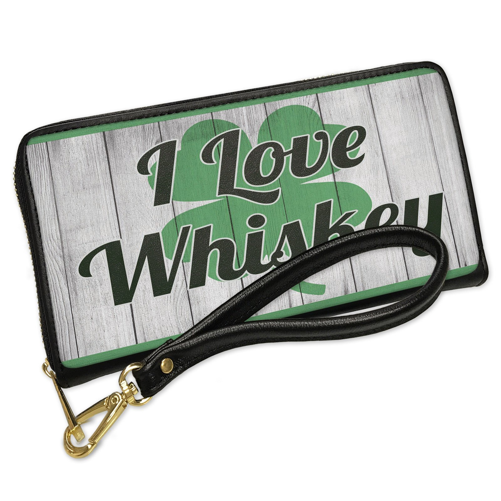 Wallet Clutch I Love Whiskey St. Patrick's Day Shamrock on Wood with Removable Wristlet Strap Neonblond