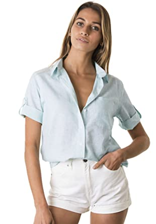b091cb16 CAMIXA Women's Short Sleeve Casual Linen Button-Down Keep Cool Camp Shirt  XS Cloud Blue
