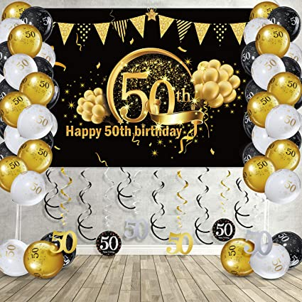 Happy Gold Birthday Banner Balloons Hanging Swirls for Happy Birthday Decorations Party Decorations Baby Shower Wedding Birthday Decorations 50th Birthday Gifts for Women /& Men /& Girl /& Boy