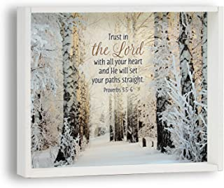 product image for Imagine Design Trust in The Lord with All Your Heart Snow Themed Box Plaque, Multi