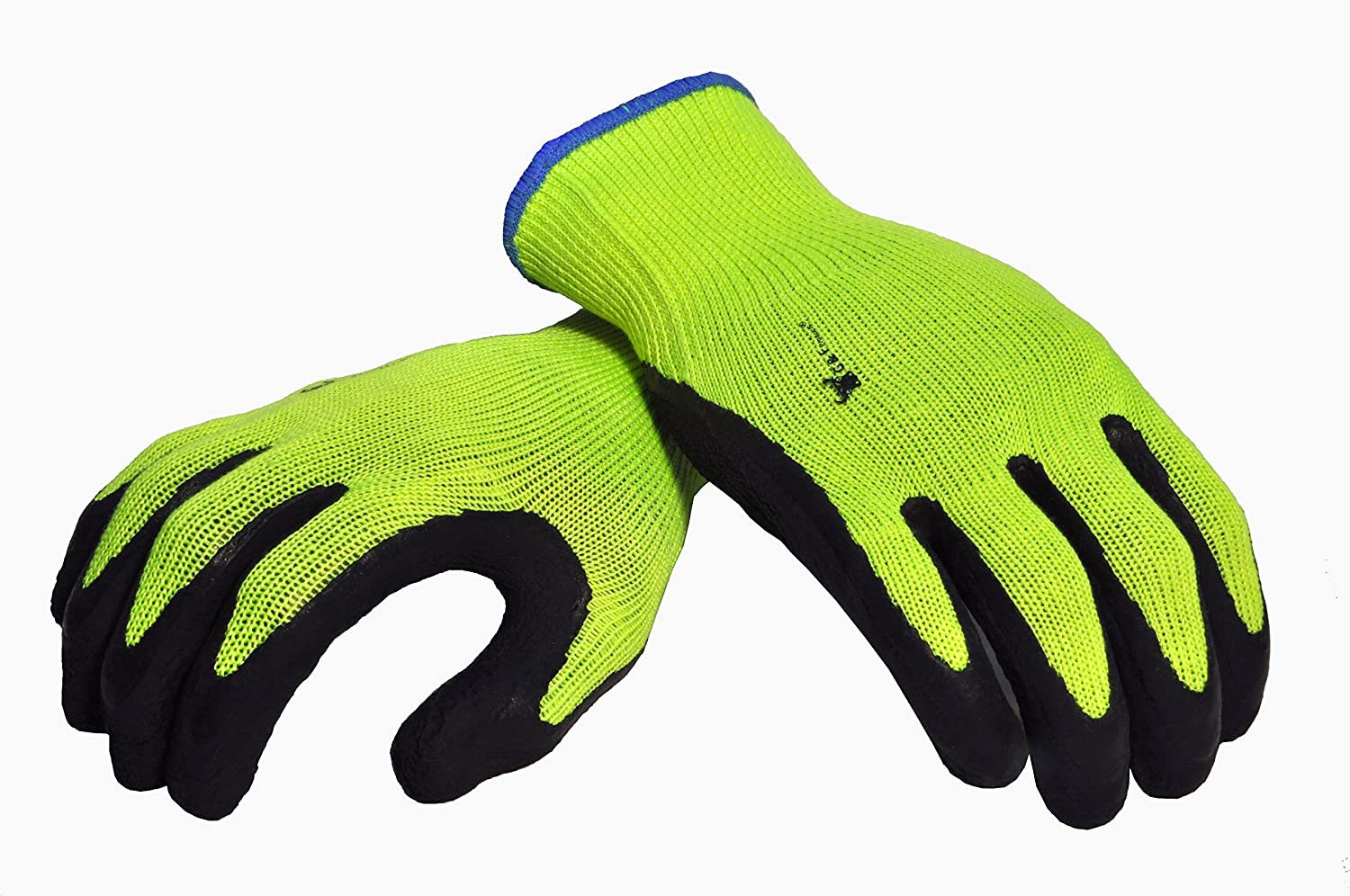 G /& F 1516XL-3 Premium High Visibility Work Gloves for General Purpose Garden Gloves Men and Women Work Gloves XLarge 3 Pair Pack MicroFoam Double Textured Latex Coated Work Gloves