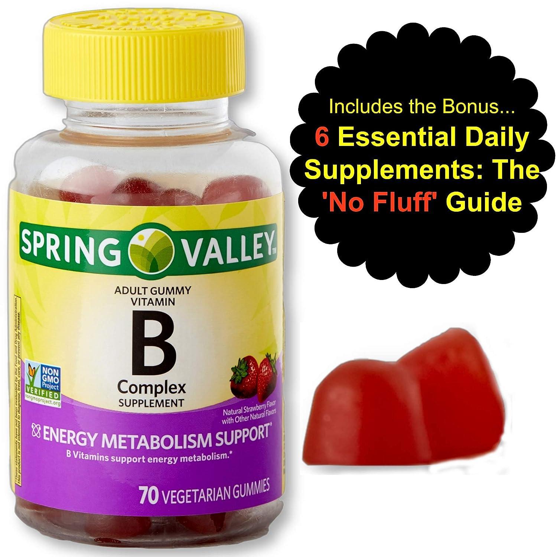 Vitamin B Complex Gummies for Adults with Vitamin B6, B12, Biotin, Niacin, Folic Acid and Vitamin C Vegan - Vegetarian - Energy Metabolism and Stress, High Potency, Non GMO & Gluten Free from Spring V