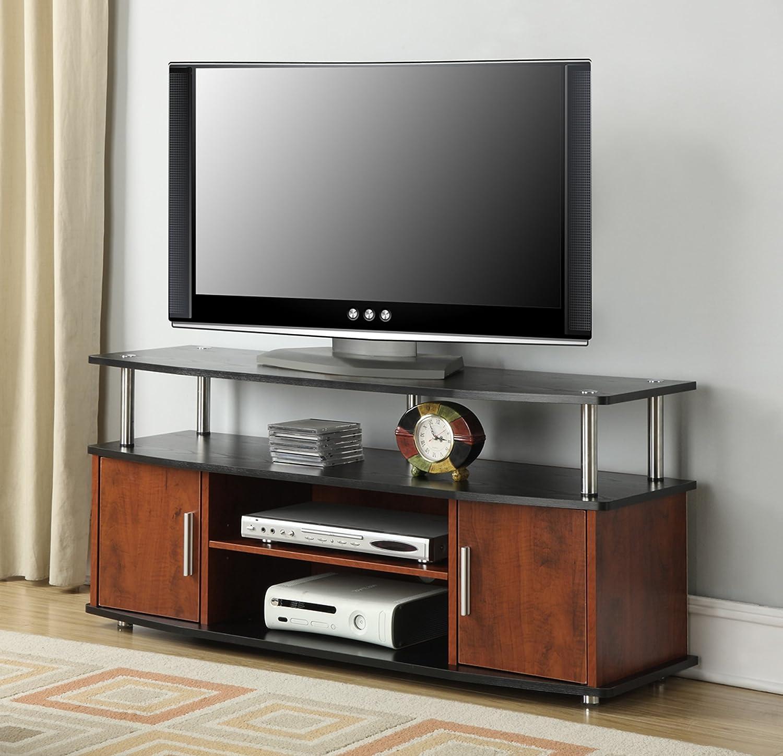 amazoncom convenience concepts designs2go monterey tv stand cherry black home u0026 kitchen