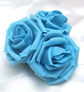 3 Pale Light Blue Roses Cluster Artificial Hair Flowers Corsage Clip Hand Made in Uk. S1