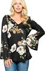 a7ca2100ffd9 Acting Pro Women's Floral V-Neck Long Bell Sleeves Top ...