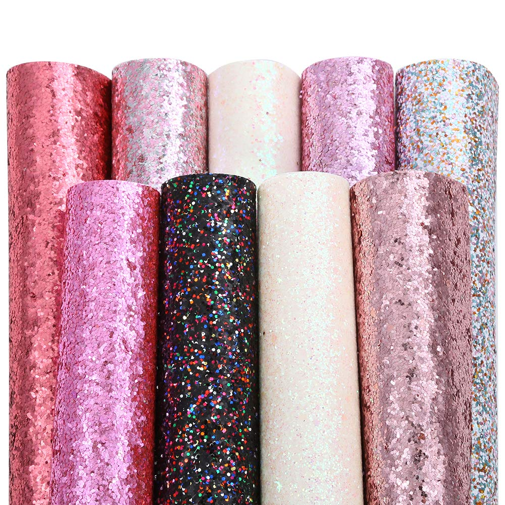Caydo 9 Colors Accessories Super Shiny Chunky Glitter Stereoscopic Sequins Faux Leather Sheets Canvas Back for Craft DIY, Hair Clips Making, Earrings Making 12.6 x 8.6 Inch (32 x 22 cm) by Caydo (Image #2)